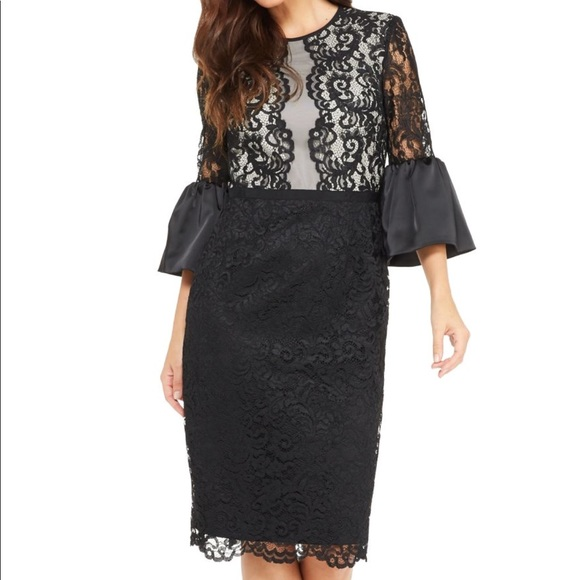 Maggy London Dresses Nwot Elegant Black And Nude Lace Midi Dress